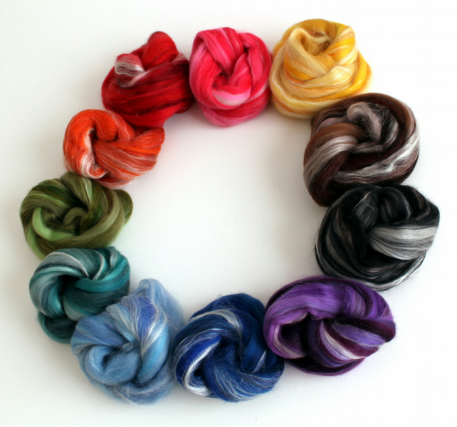 Rainbow - Luxury Merino Wool and Silk Variety Pack Blended Combed Top 100g