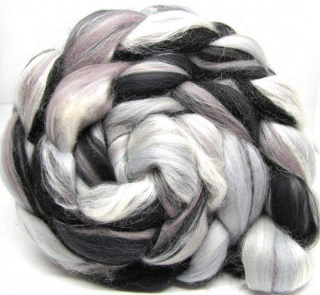Monochrome - Custom Blend Merino and Silk Combed Top 100g Spinning Felting