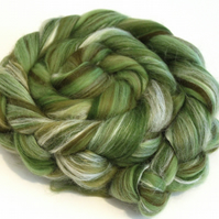 Olive Tree Fine Merino Wool & Silk Combed Top 100g