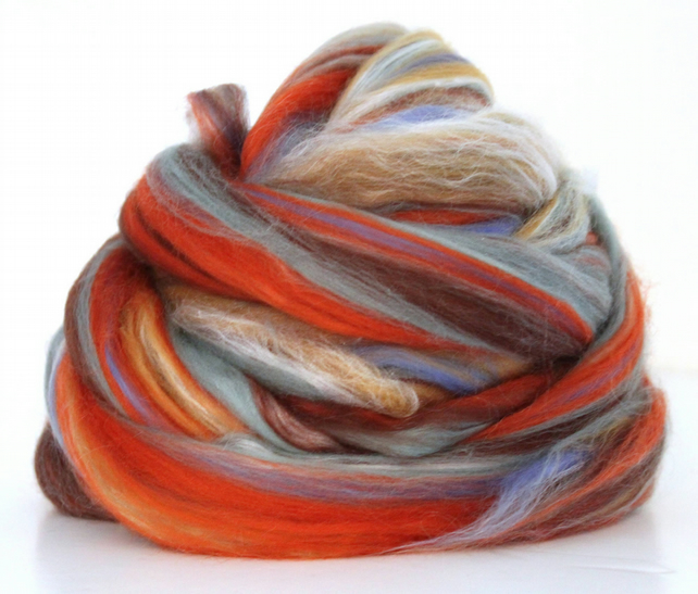 Vanilla Pumpkin Latte Fine Merino Wool & Silk Combed Top 100g