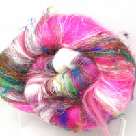 Carded Batt Wild Rose Garden Dyed fine Merino Wool & Silk Blend 100g