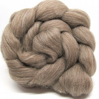 BFL Bluefaced Leicester Natural Coloured combed wool top Brown Grey 100g