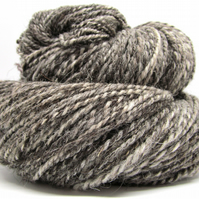Jacob Wool Handspun Yarn 'Humbug' Natural Coloured Undyed Yarn 200g -7oz 300 Yds