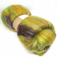 Carded Batts Dyed fine Merino Wool & Silk Blend - Harvest 100g
