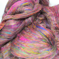 Recycled Carded Sari Silk Fibres - Multi 50g