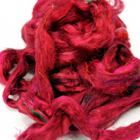 Recycled Carded Sari Silk Fibres - Scarlet 50g