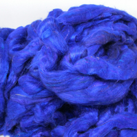 Recycled Carded Sari Silk Fibres - Royal Blue 50g