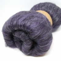 Blackcurrant & Liquorice Hand Carded Batt Merino and Silk Fibre 100g