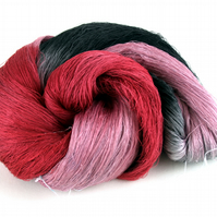 Hand Dyed Mulberry Silk Luxury Lace Yarn 100g 2.120s No.1 Flamingo
