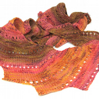 Hand Knit Wool Scarf Autumnal