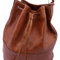 Genuine Handmade Leather Drawstring Duffle Shoulder Bag - Tan