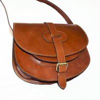 Genuine leather saddle style handbag, shoulder bag, cross-body bag in Tan