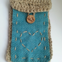 Eco Friendly crochet linen and Harris tweed  phone case