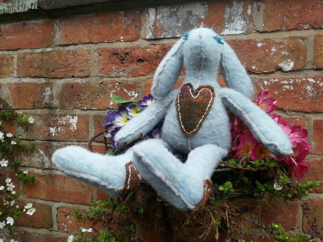Tilda style bunny rabbit McBunny collection wool cadhmere large with tweed