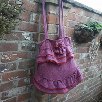 Tweed tote  bag shabby chic  style.