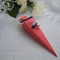 Readymade wedding favours custom made to your requirements - coral pink