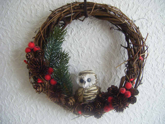 Christmas Wreath Winter Woodland Owl