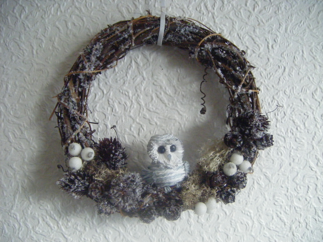 Christmas Wreath Winter Snowy Owl