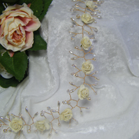 Handmade wedding  bridal rose hair vine