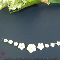 Handmade wedding bridal Hair vine mother of pearl