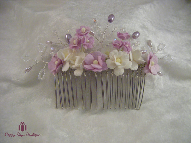 Wedding bridal prom tiara hair comb pale lilac