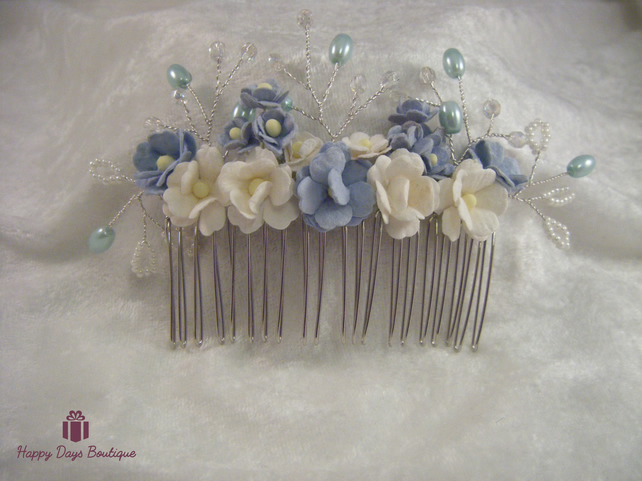 Wedding bridal prom tiara hair comb pale blue