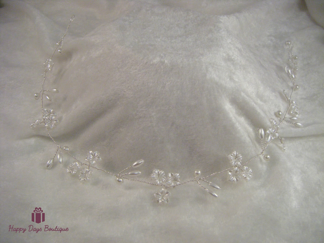Handmade wedding bridal party prom  Hair vine floral & pearl