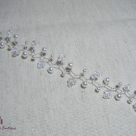 Handmade wedding bridal party prom  Hair Vine beautiful white pearls