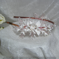 Wedding bridal prom tiara headband flowers and pearls