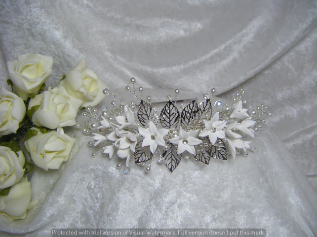 Wedding bridal prom tiara side headband flowers and pearls