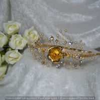 Wedding bridal prom tiara side headband gold and ivory pearl