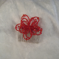 Christmas Party Hair Comb Red
