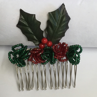 Christmas Party Hair Comb Holly leaves with red and green beading