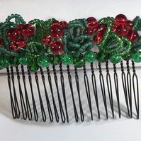 Christmas Party Hair Comb with red and green beading