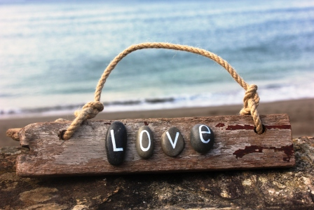 'Love' Cornish Driftwood Sign