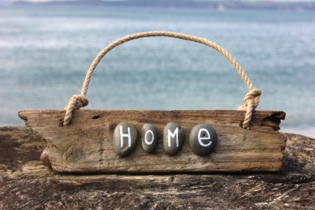 'Home' Cornish Driftwood Sign