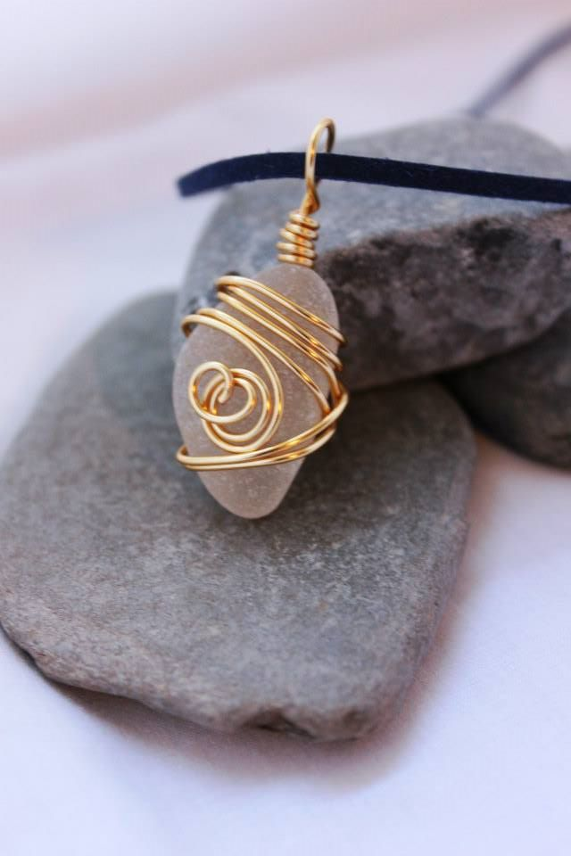 Gold Cornish Sea Glass Necklace
