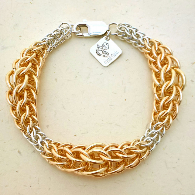 Graduated persian by Crystal Clarke - 12kt Gold fill and silver bracelet