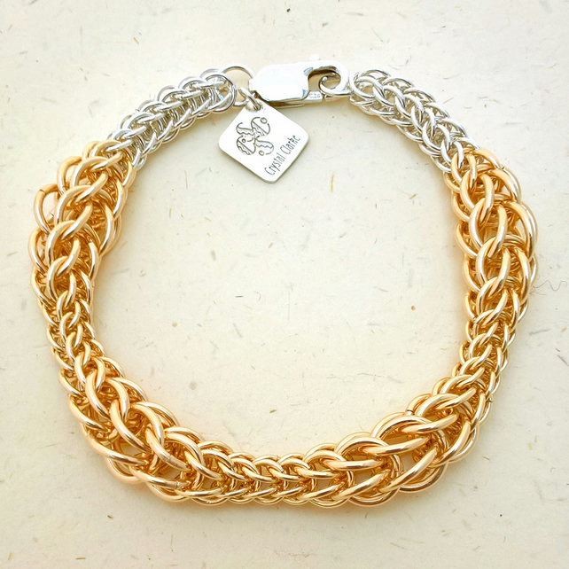 12kt Gold fill and sterling silver bracelet handmade by Crystal Clarke