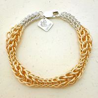 Gold Filled and Sterling Silver Chainmaille Bracelet. Hallmarked. Hand Woven.