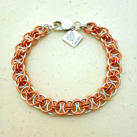 Copper and Sterling Silver Chainmaille Bracelet. Helm Weave. Fully Hallmarked.