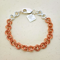 Copper and Sterling Silver Chainmaille Bracelet. Mobius Ball Weave. Hallmarked.