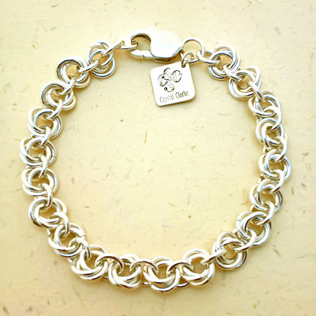 Silver Bracelet, Chainmail, Wedding Jewellery, Luxury Gift, Made To Order