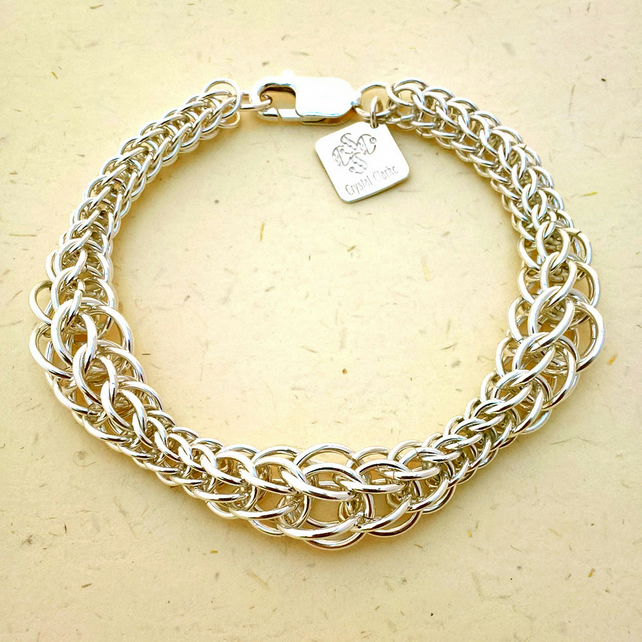 Ready to ship sterling silver chainmaille bracelet in a graduated persian weave.