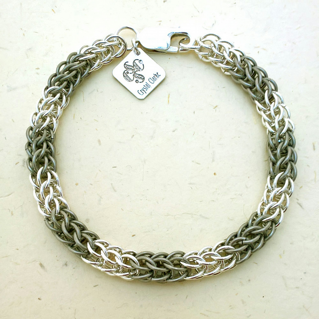 Ready to ship persian weave titanium and sterling silver chainmaille bracelet.