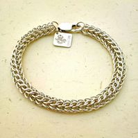 Sterling Silver Chainmaille Bracelet. Persian Weave. Hallmarked. Hand Woven.