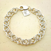 Sterling silver chainmaille bracelet made from wire in helm weave