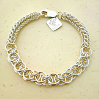 Sterling Silver Chainmaille Bracelet. Helm and Persian Weave. Fully Hallmarked.