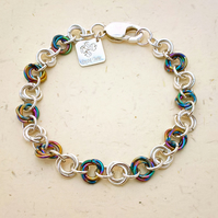 Anodised Niobium and Sterling Silver Chainmaille Bracelet. Hallmarked. Handmade.