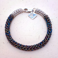Anodised Titanium and Sterling Silver Chainmaille Bracelet. Hand Woven.